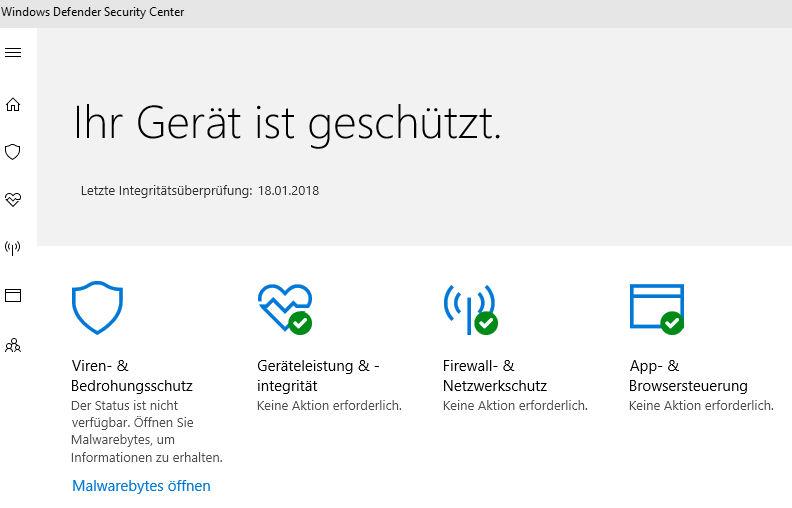 Windows Defender Probleme mit 3rd Party Virenscanner (Malwarebytes)