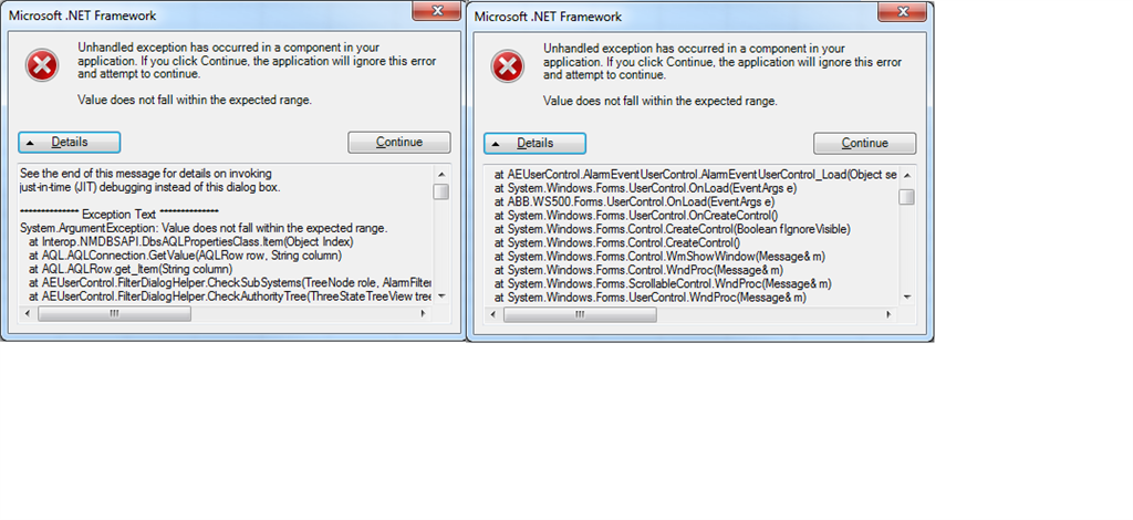 Microsoft.NET Framework: unhandled exception has occurred in a