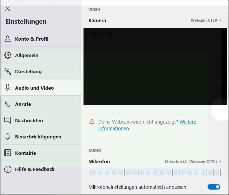 Webcam not working