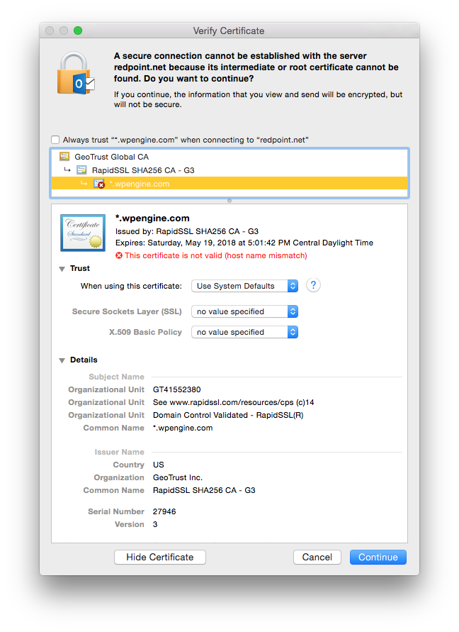 Mac 2016 Outlook V159 Certificate Problem Microsoft Community