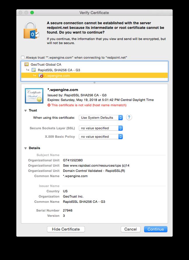 Mac 2016 Outlook v15.9 certificate problem - Microsoft Community