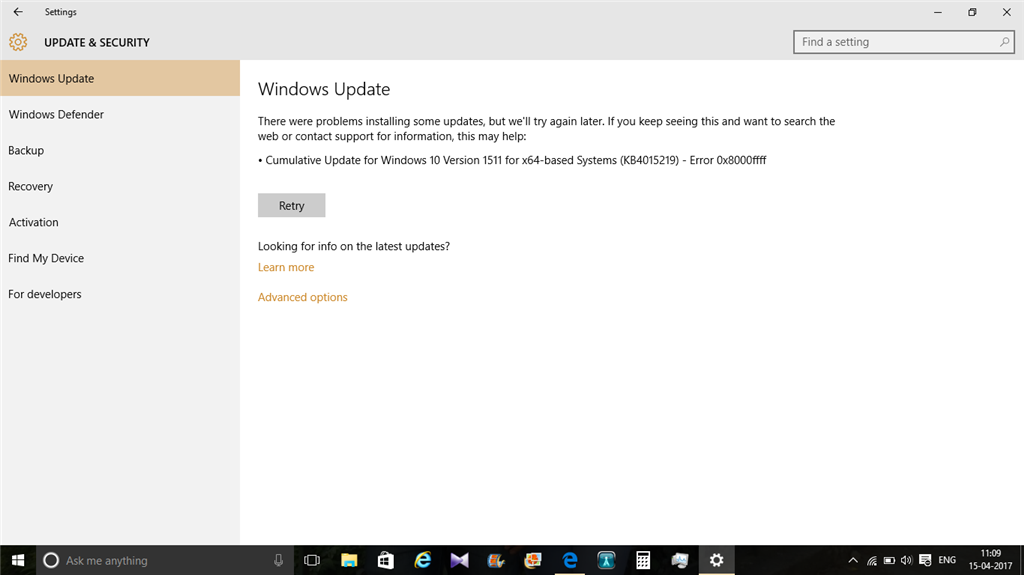 Cumulative Update for Windows 10 Version 1511 for x64-based