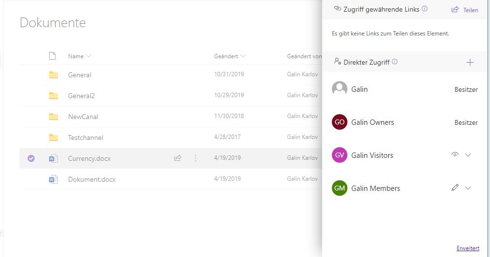 SharePoint Freigaben zwischen Ordnern und Dateien