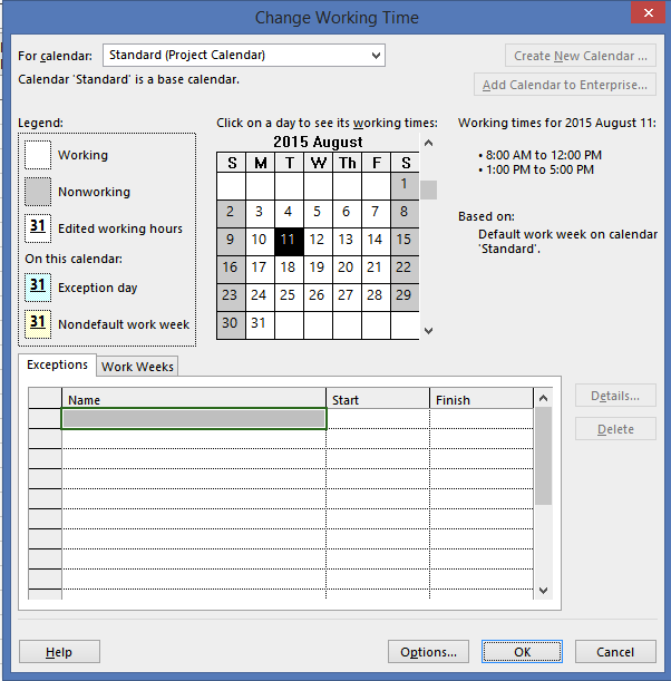 unable to change working days in calendar project online