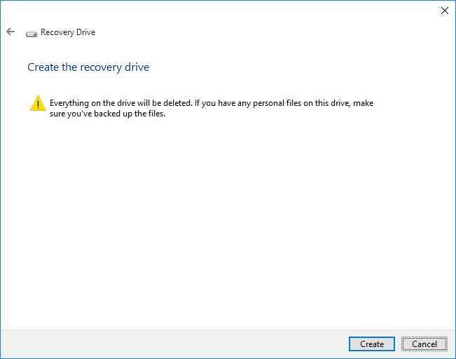 creating a recovery drive