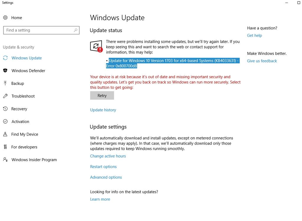 Win Update fail: Update for Windows 10 Version 1703 for x64