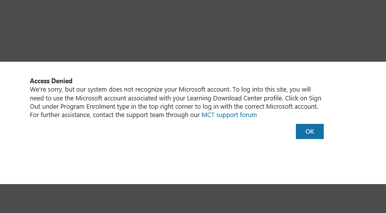 i cant access the microsoft download center training