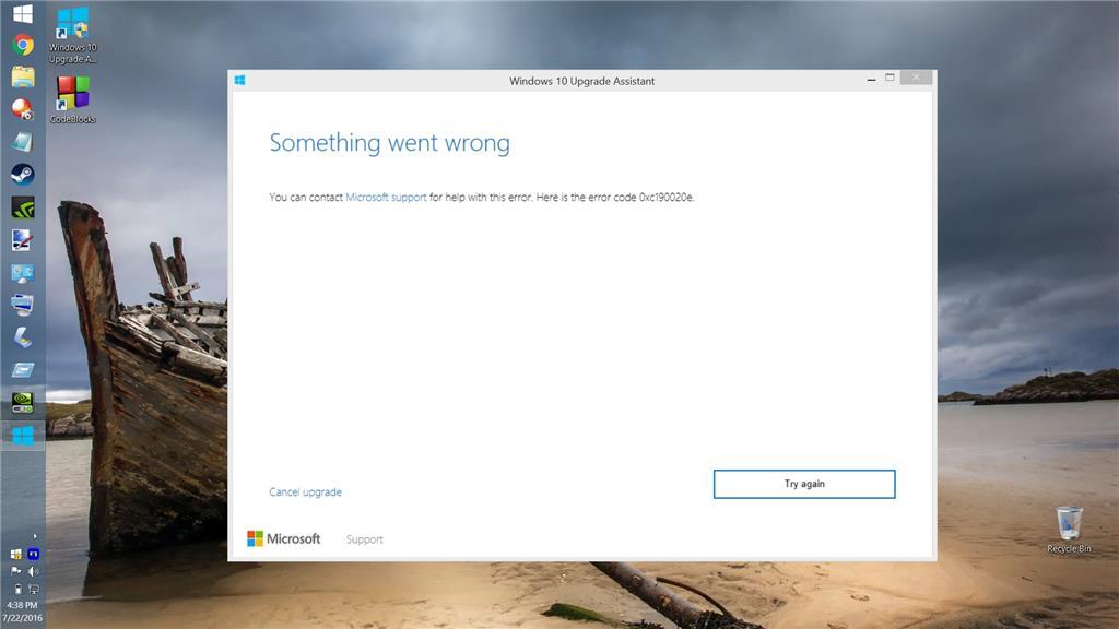 Error while upgrading to Windows 10 - 0xc190020e - Microsoft Community