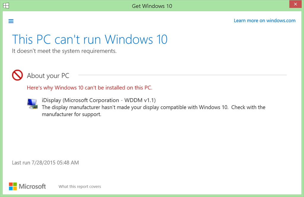 Can\u0027t update to Windows 10 (Display is not compatible). - Microsoft