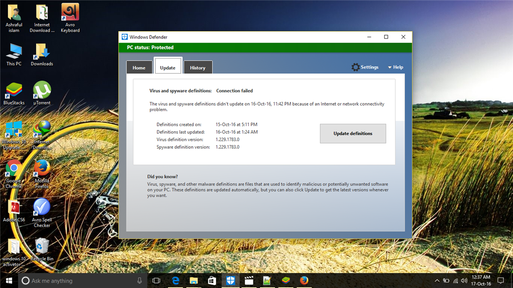 virus and spyware definition did not update   - Microsoft Community