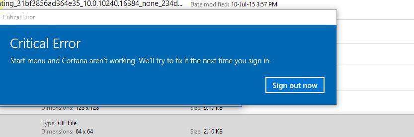 my computer says critical error start menu and cortana arent working