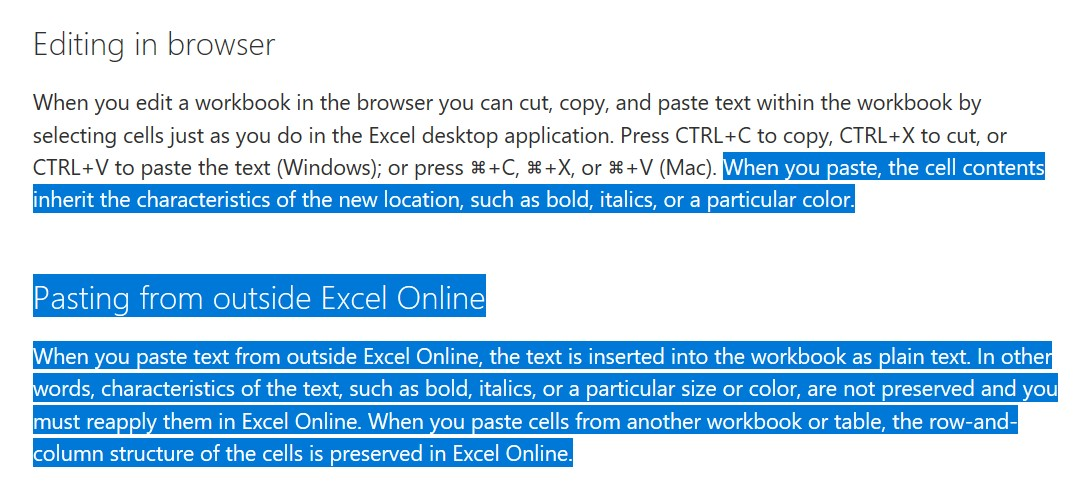 Copy paste in excel online - Microsoft Community