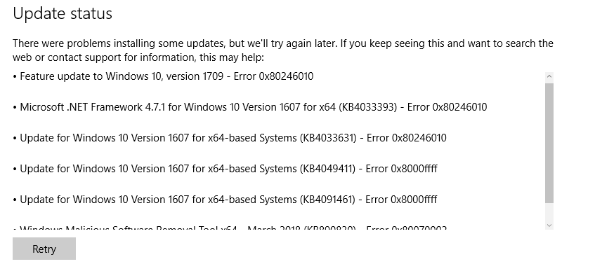 Windows 10 Upgrade Error 0X8000Ffff images