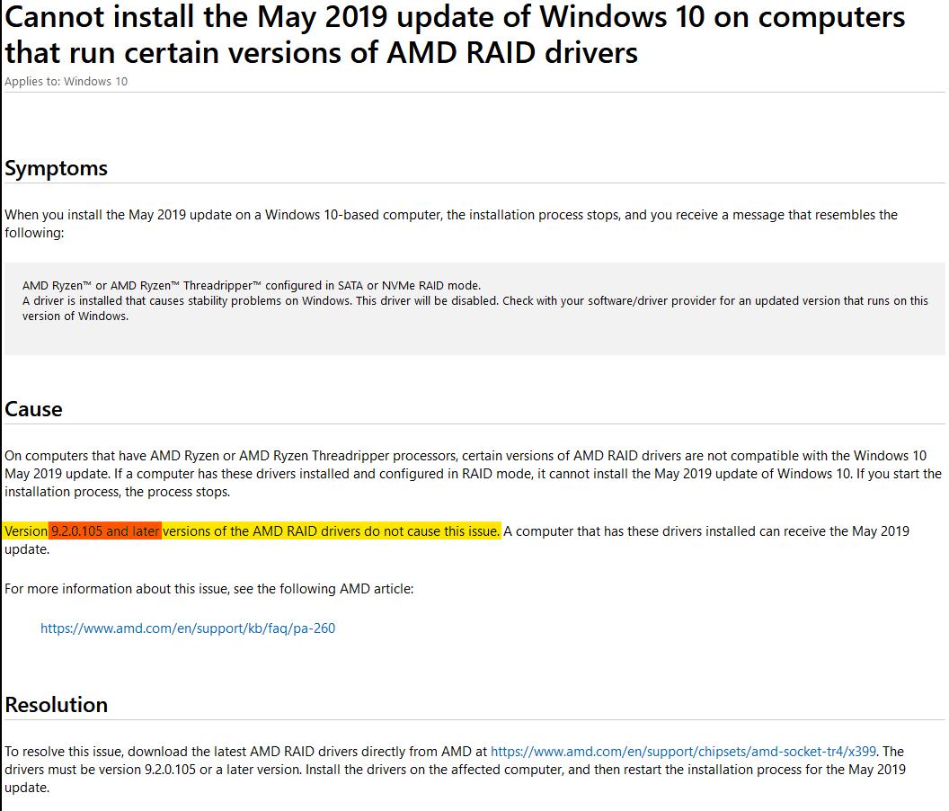 AMD RAID Driver利用時のWindows10 1903へのアップデート不可