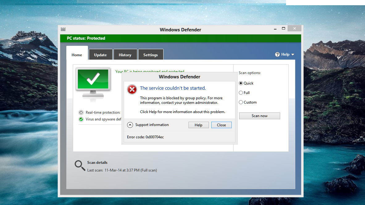 windows defender error this program is turned off by group policy