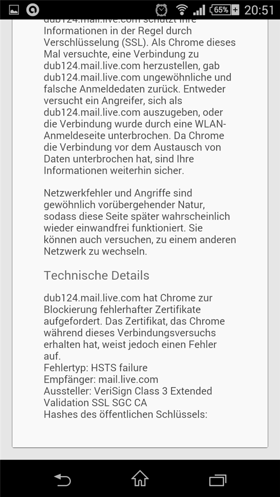 Zertifikatsfehler mit Chrome (mobile) - Microsoft Community