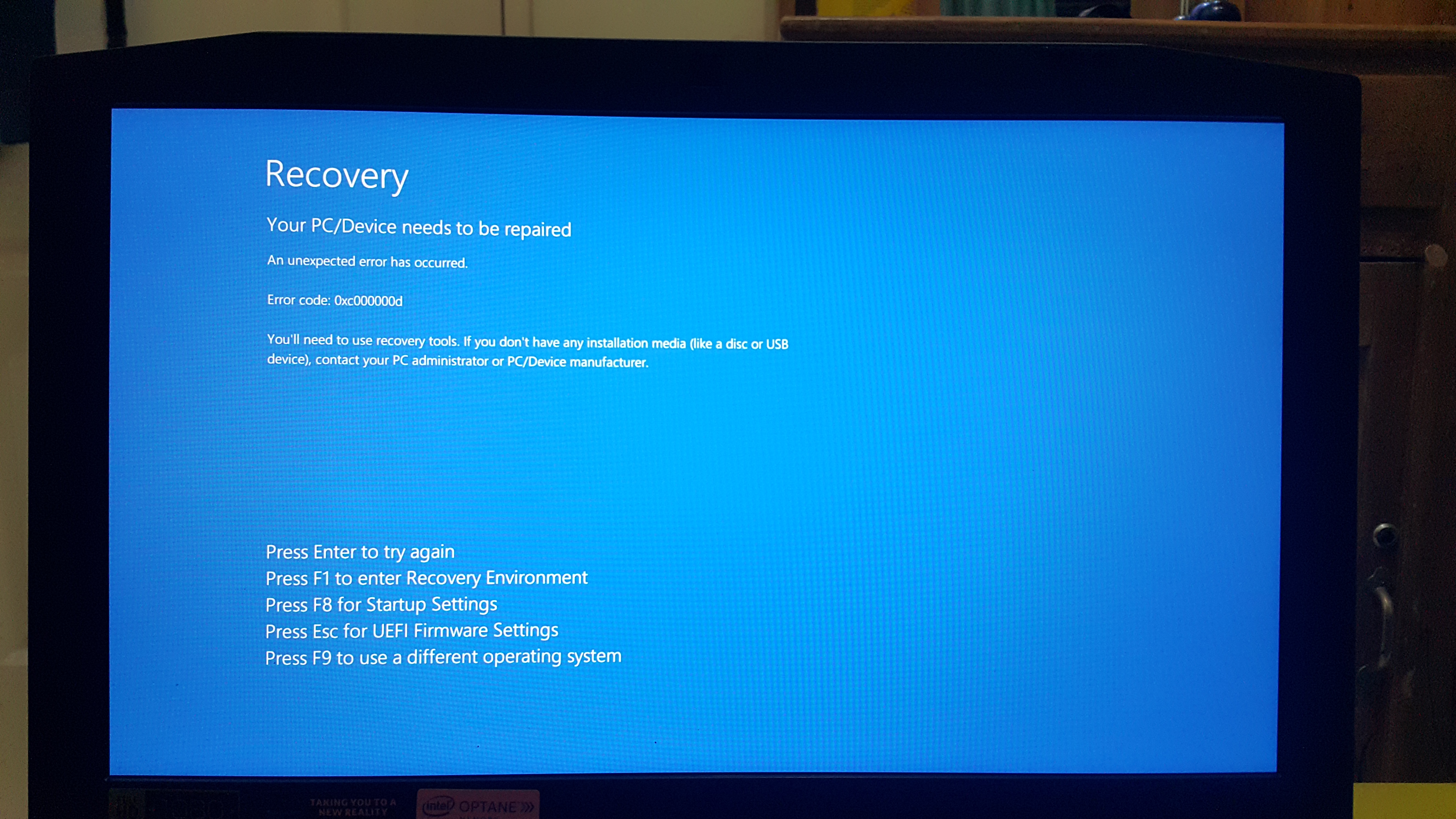 Windows 10 Error Code 0xc000000d - Microsoft Community