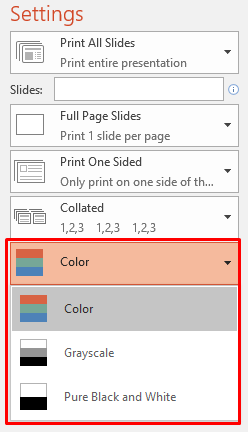 In Word Excel 2016 If You Go To File Print Wont See The Same Option Change Color Grayscale I Dont Know Application That Are
