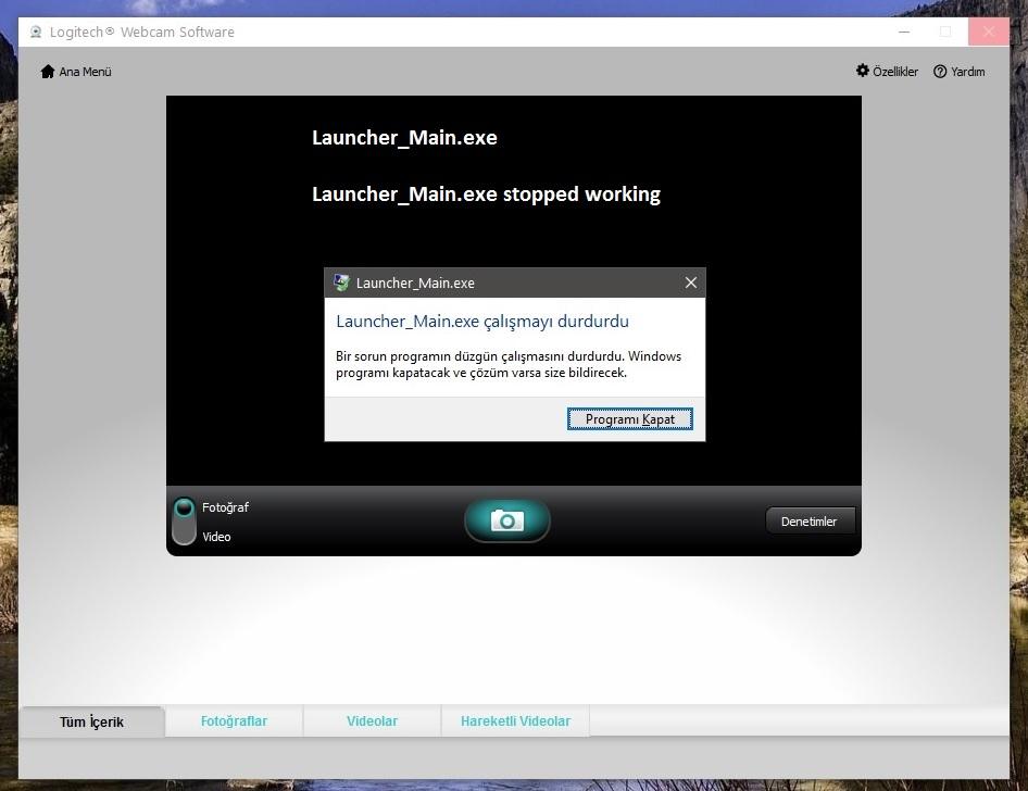 logitech webcam software not working