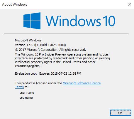 windows 10 n version 1709