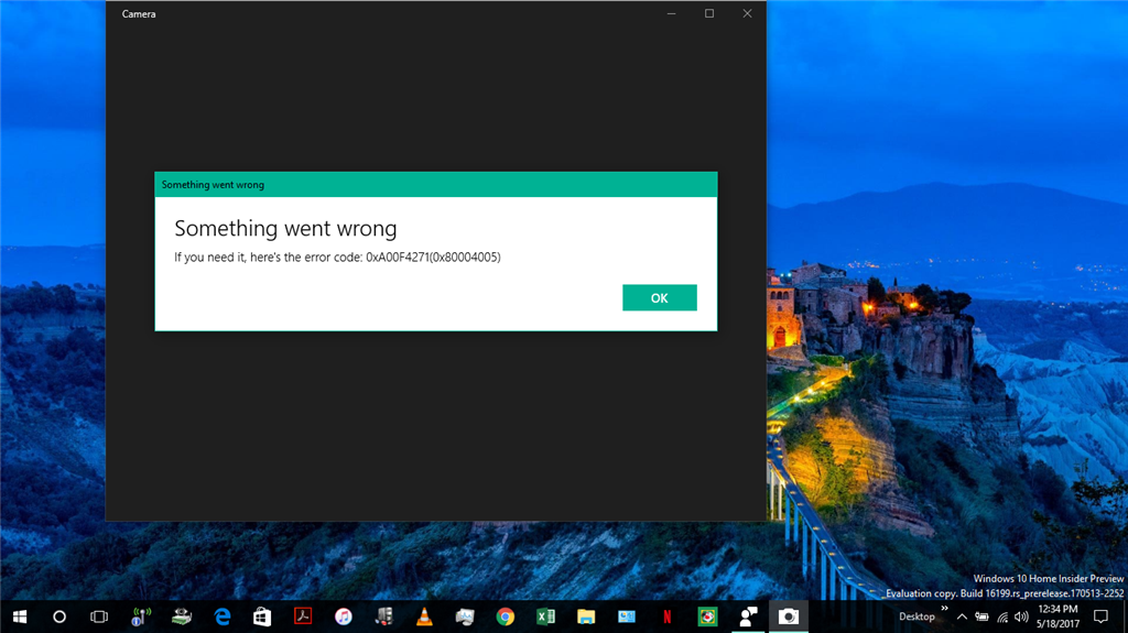 After Build 16199 Update Windows Webcam Camera Not Working