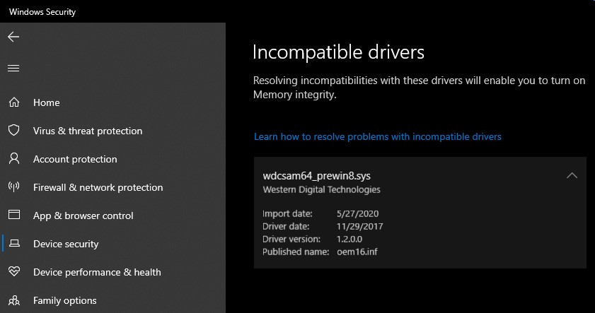 Example of the error windows shows you when you have incompatible drivers that are preventing Core Isolation from being enabled.