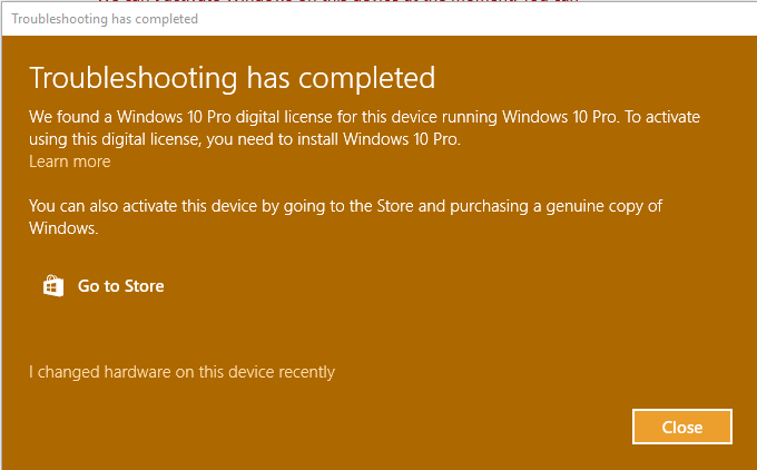 Activation failing telling me that i have pro installed and a pro ive had windows 10 installed for some time i now have a message saying i need to activate windows on my desktop i tried to do that through settings and i ccuart Gallery