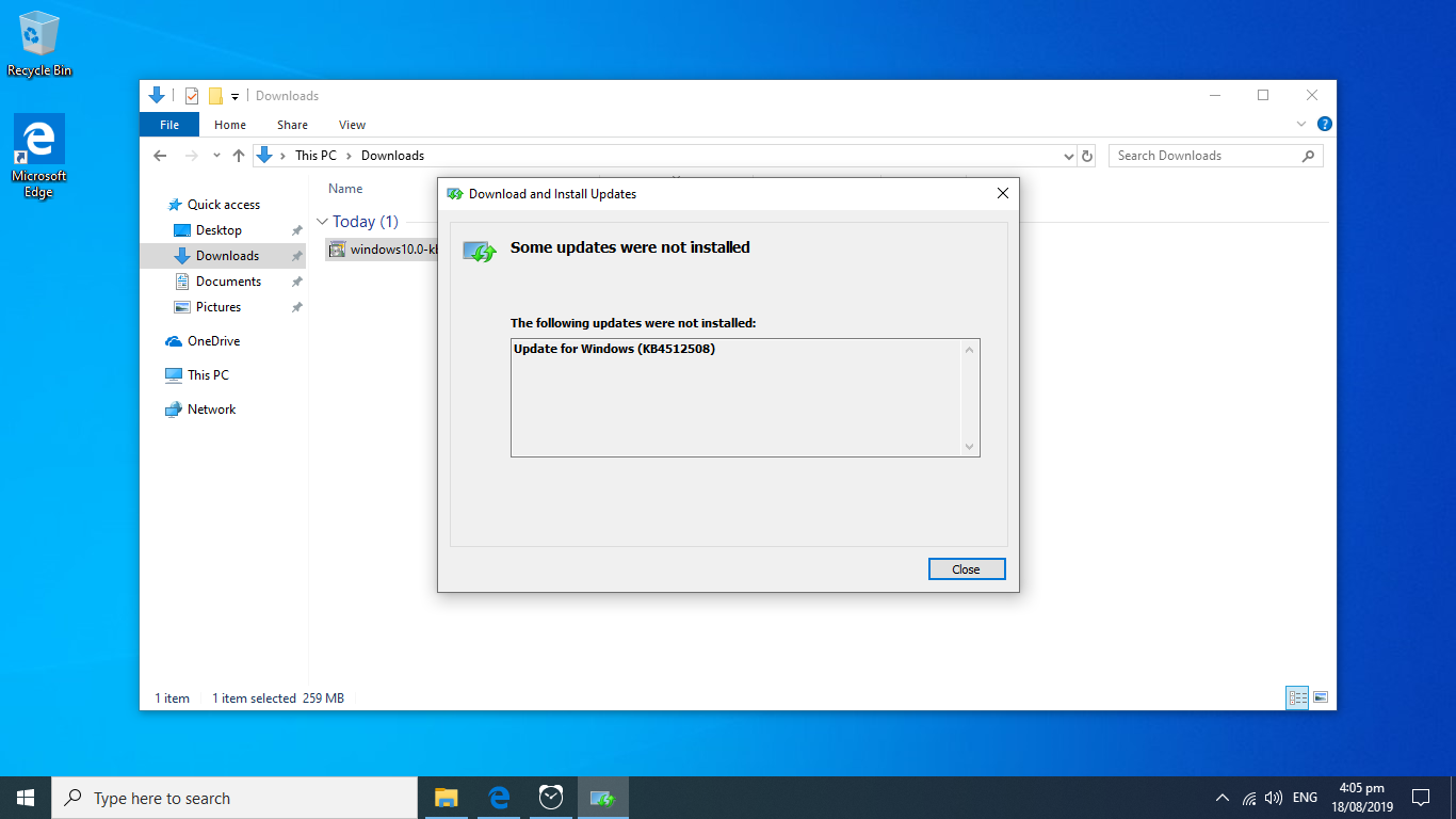 2019-08 Cumulative Update for Windows 10 Version 1903 for
