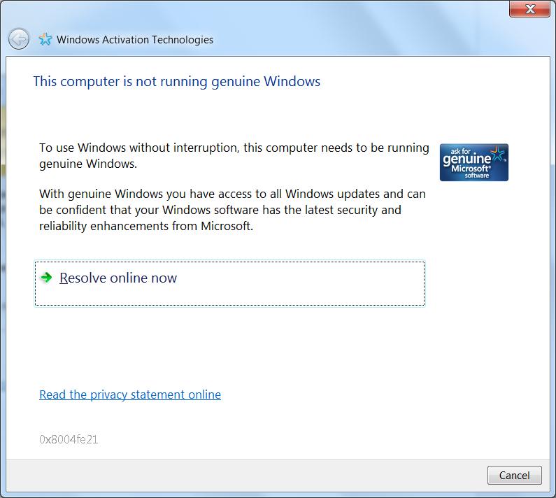 Windows 7 premium - error message 0 x 8004fe21 - Microsoft Community