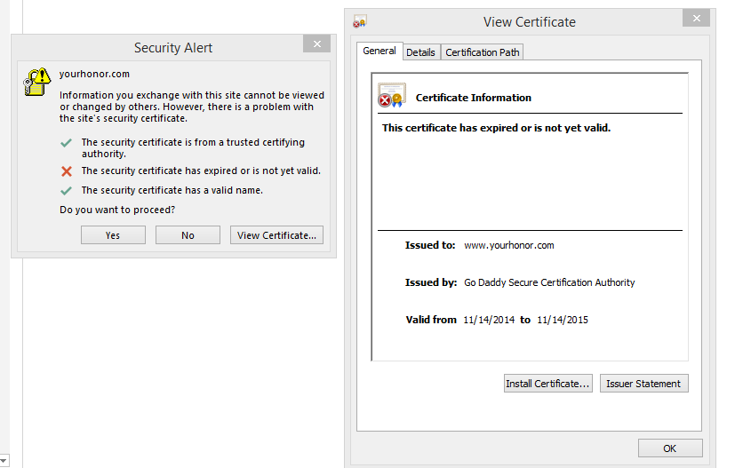 Outlook Security Alert: The security certificate has expired or is ...