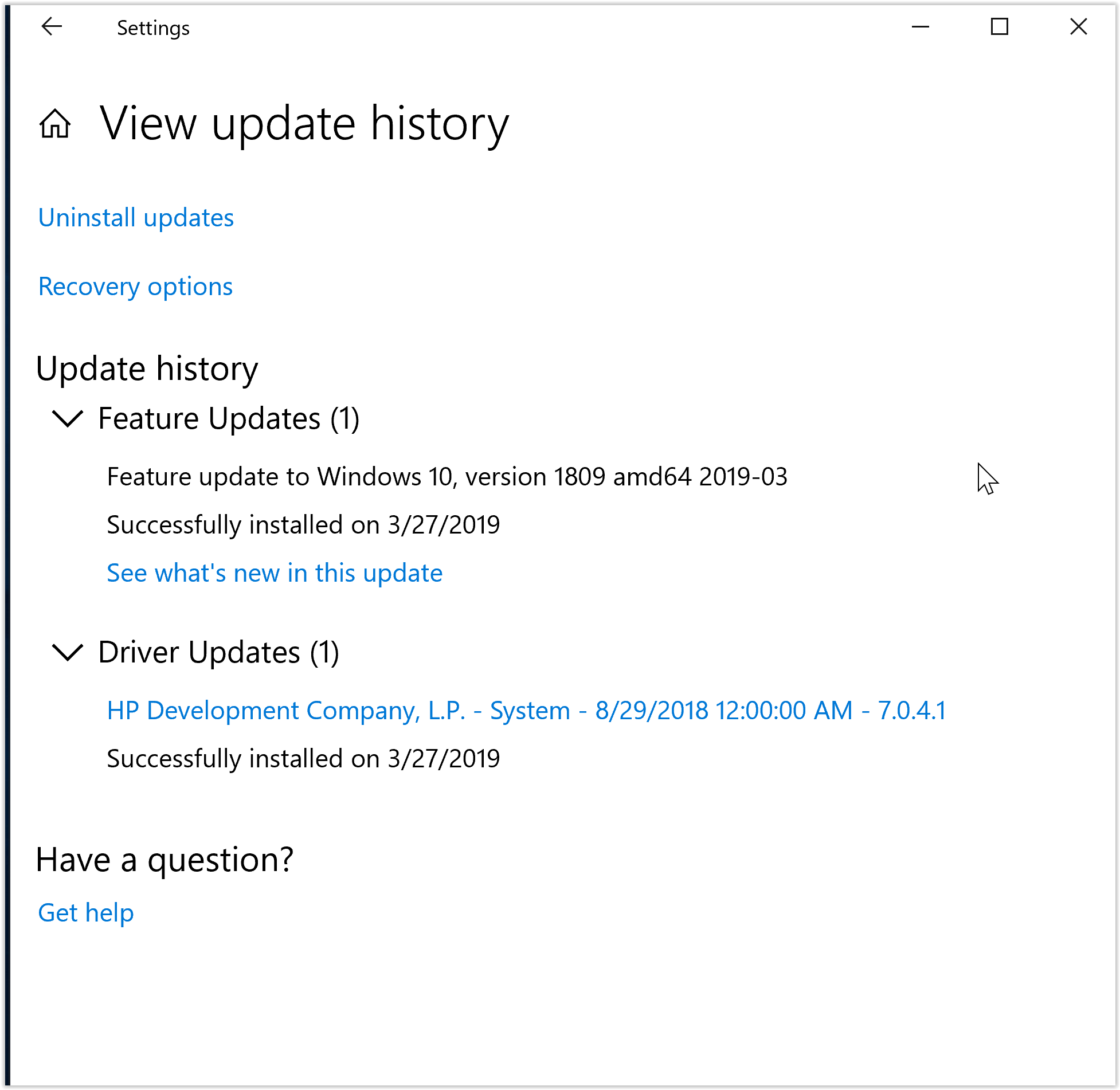 Feature update to Windows 10, version 1809 amd64 2019 03 - Microsoft