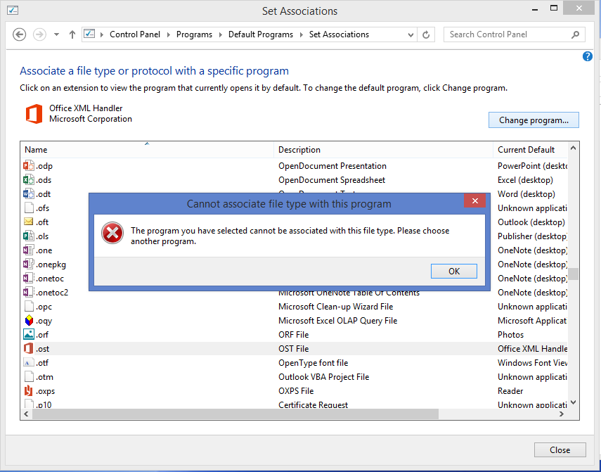 Technology Management Image: .ost File Association Change With Windows 8.1 And Office