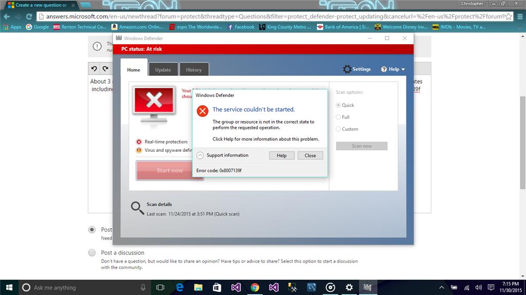 windows defender on win 10 - Microsoft Community