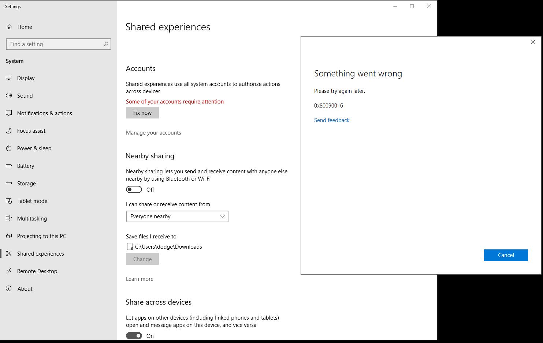 Error code 0x80090016 - Microsoft Community