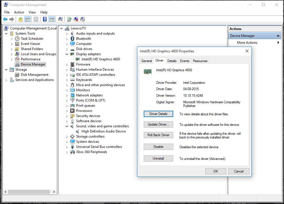 Intel HD Graphics 4600 - No Sound being output despite being