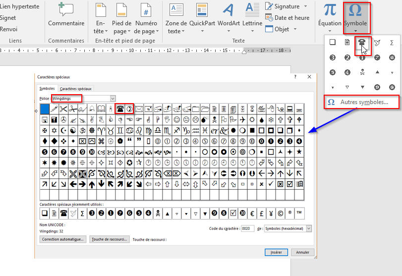 inserer le symbole telephone dans un document word