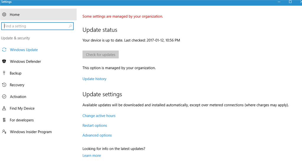 windows update option in windows 10