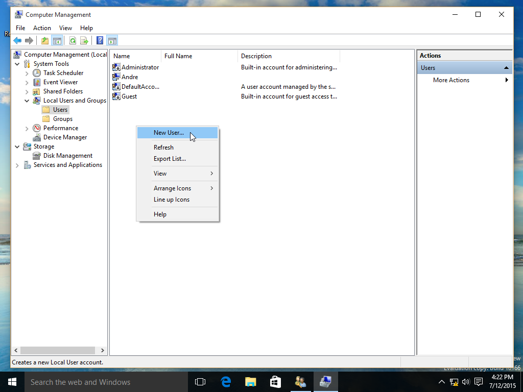 create microsoft local account windows 10