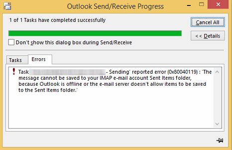 However When We Send Out Email Outlook Client Prompt Out This Error The Email Still Able To Send Out But It Store In Outbox Folder