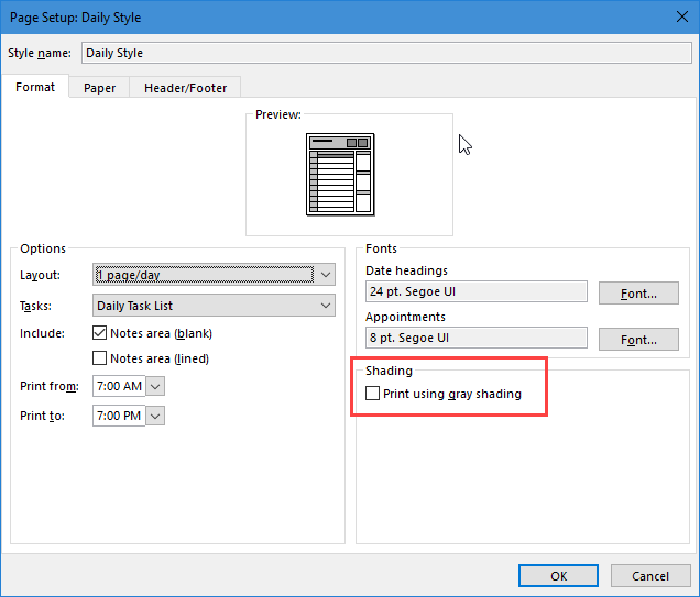 Unable to print calendar categories in color in Outlook 2016
