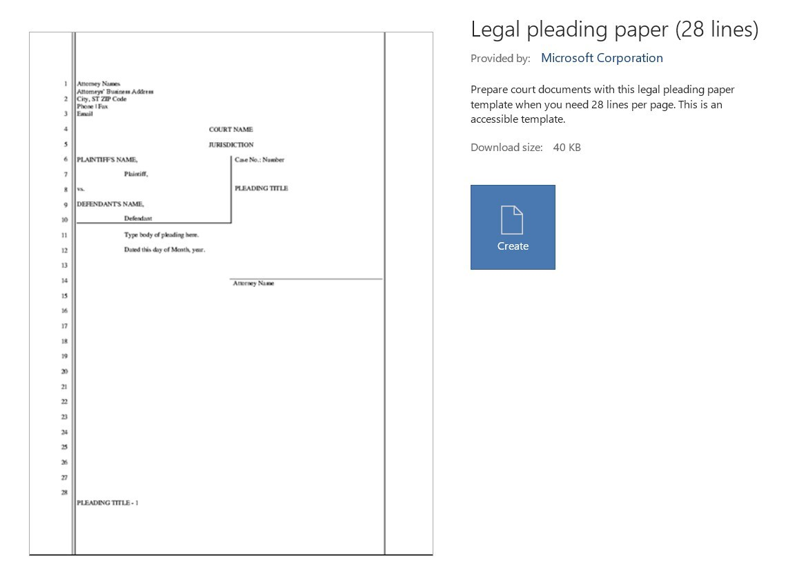 Pleadings Special Layout In Word How To Microsoft Community Microsoft word legal pleading template