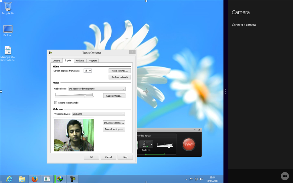Windows 8 Camera application is not recognizing my Webcam