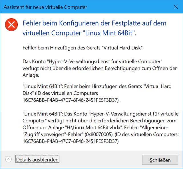 Hyper-V funktioniert bei Surface Book 2 nicht.