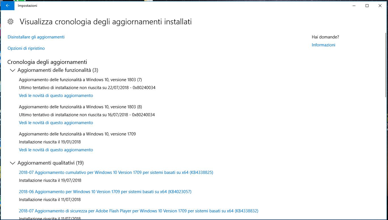 aggiornamento windows 10 versione 1803