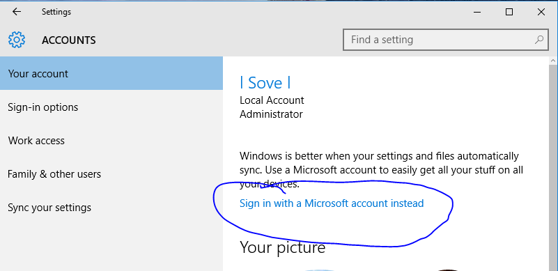 broken sign in with a microsoft account instead button help