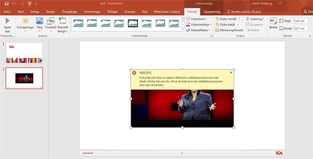 Not able to insert video in ppt due to lack of web browser