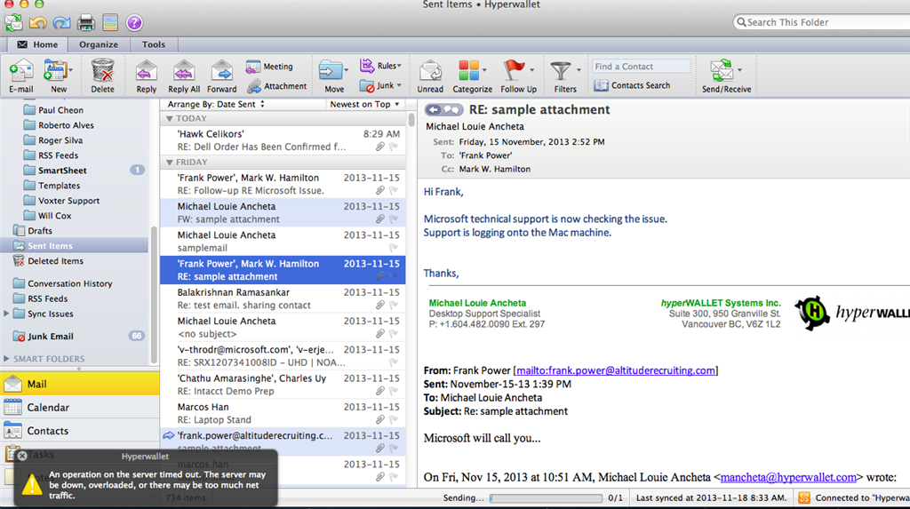 outlook email not sending on mac
