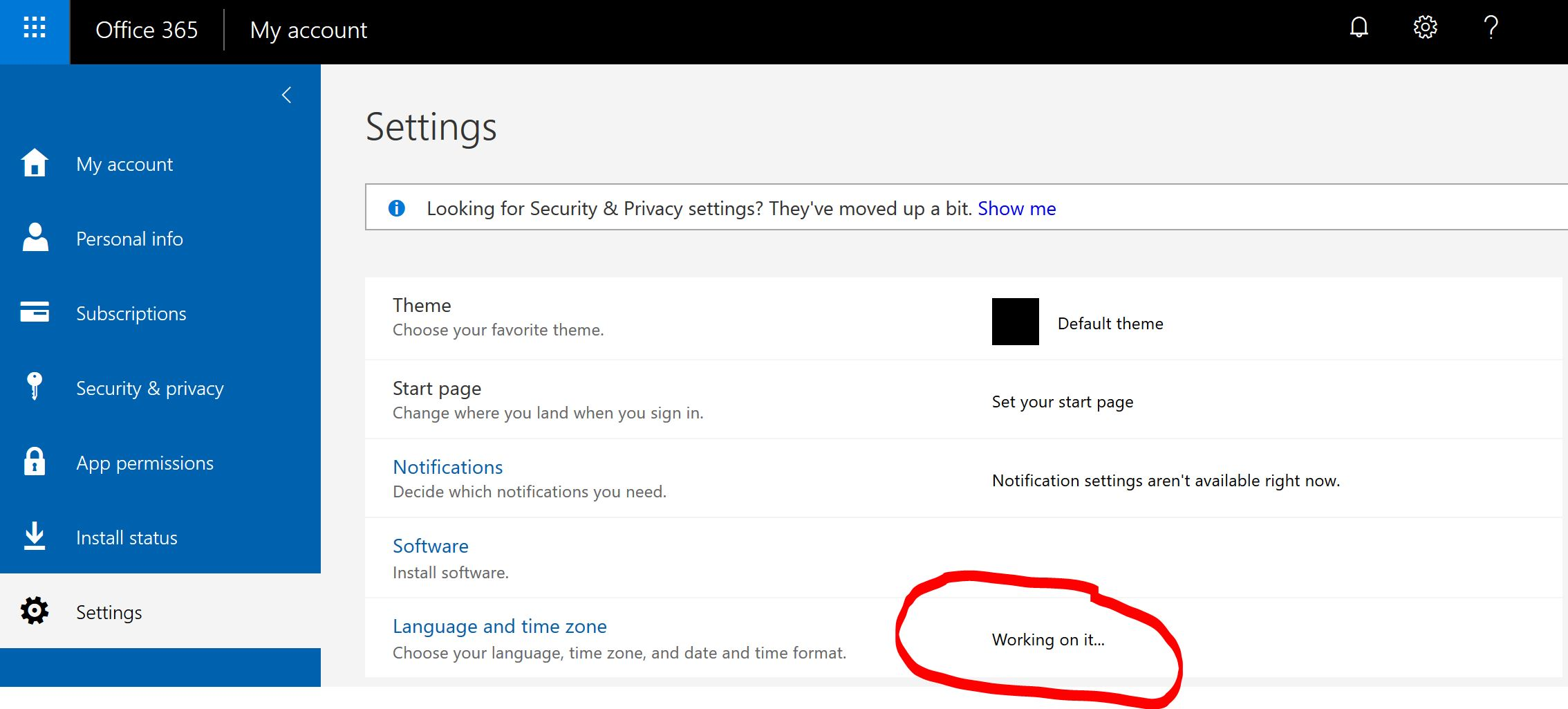 Unable to change language to English in OneDrive