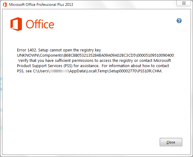 error 1402 setup cannot open the registry key office 2013