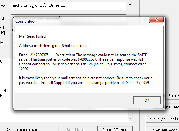 Trying to send emails from an application through my hotmail email